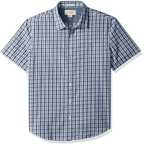 Original Penguin Men's Short Sleeve Check Shirt, Bright White, (Original Penguin Check)