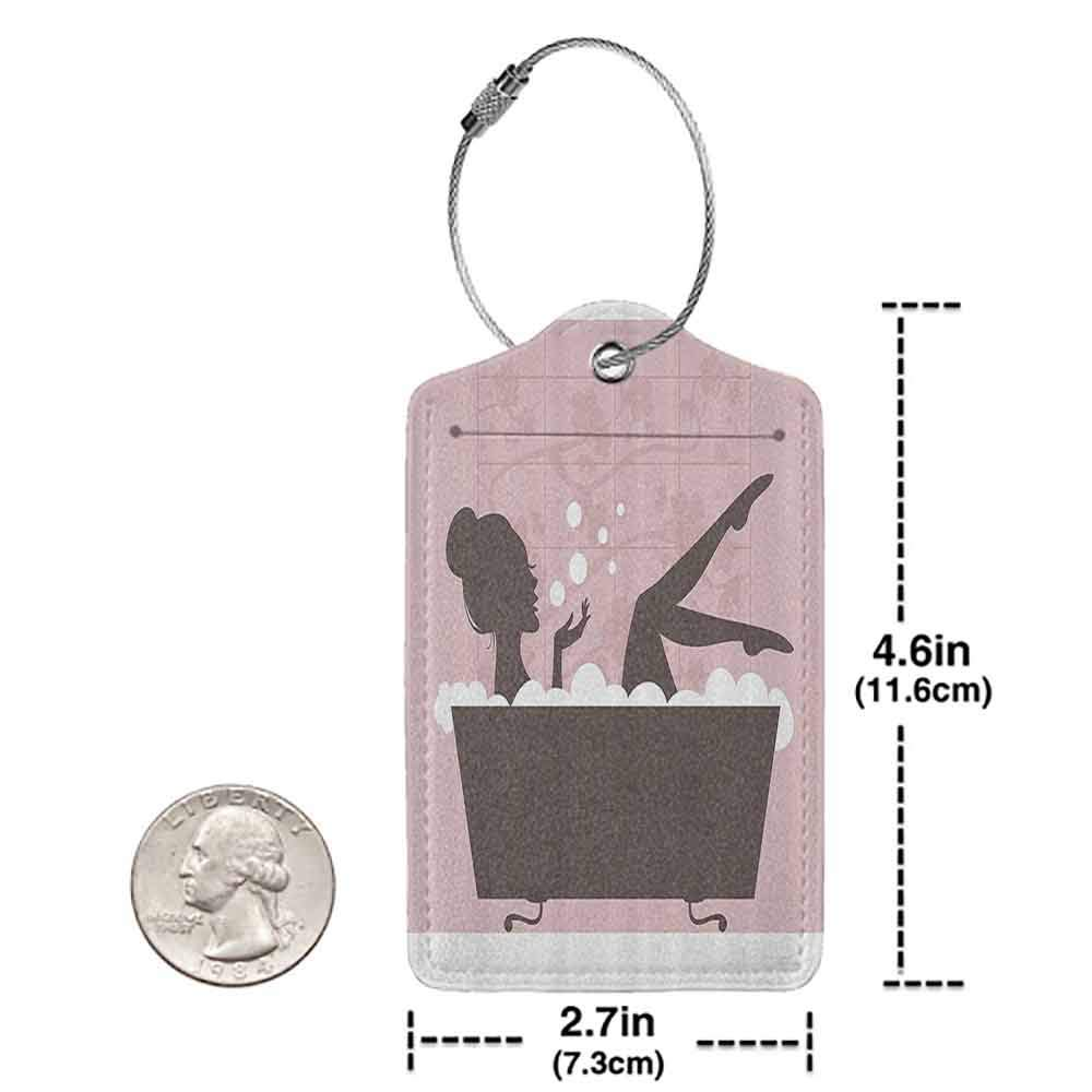 Flexible luggage tag Teen Girl Women Decor Beautiful Woman in Bath Tub Spa Relaxation Treatment Concept Vintage Style Fashion match Powder Pink Dark Taupe W2.7 x L4.6