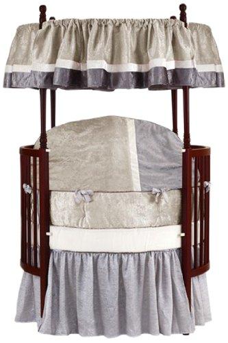 Baby Doll Bedding Round Crib Bedding Set, Beige, 8 Piece