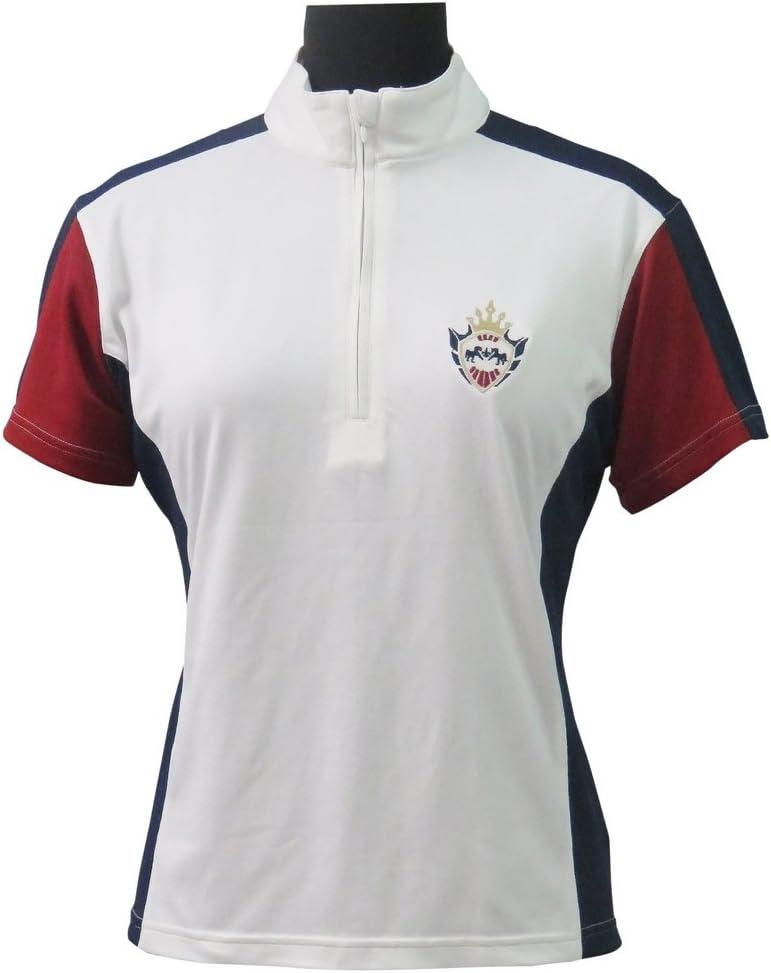 Dennison半袖シャツ ホワイト/ネイビー/レッド Large