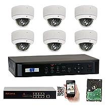GW Security 8CH 1080P NVR Outdoor Indoor Security Camera System - 6 x HD 1080P 2.8~12mm Varifocal Zoom 80ft IR PoE IP Camera