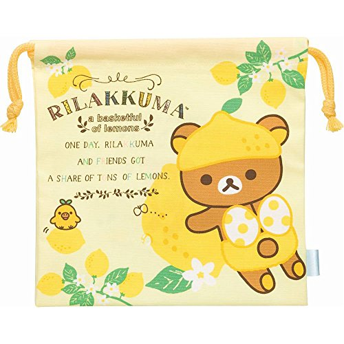 Rilakkuma (Basketful of lemons) Drawstring Bag Pouch 19 x 19.5 cm San-X