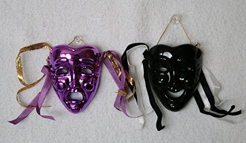 Porcelain Mask, Black and Purple, Happy and Crying Face ,Set of 2 , for Wall Decorations and Collection., 3 Inches (L) X 2.5 Inches (W) X 1 Inch (Porcelain Mask)