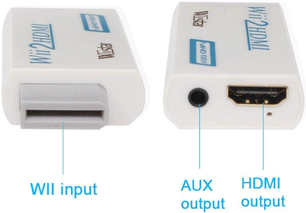 ntsc Pal 480p 480i 576i Wii a La Salida Hdmi Adaptador Convertidor De Audio Y V/ídeo Soporta Todos Los Modos De Exhibici/ón De Wii Compatibilidad Y Estabilidad Electr/ónico Port/átil Blanco Accesorios