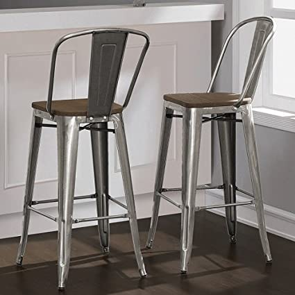 Tabouret Bistro Wood Seat Gunmetal Finish Bar Stools (Set Of 2) 30 Inches  High