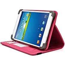 HKC 7 Inch Tablet Case, UniGrip PRO Series - PINK - By Cush Cases (Case Features Top Quality PU Leather with Bulit In Stand, Hand Strap, 3 Card Slots and SIM Card Holder)