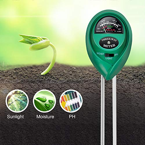 iPower LGTESTSOIL pH Meter, 3-in-1 Soil Tester Kits with Moisture,Light and, Green