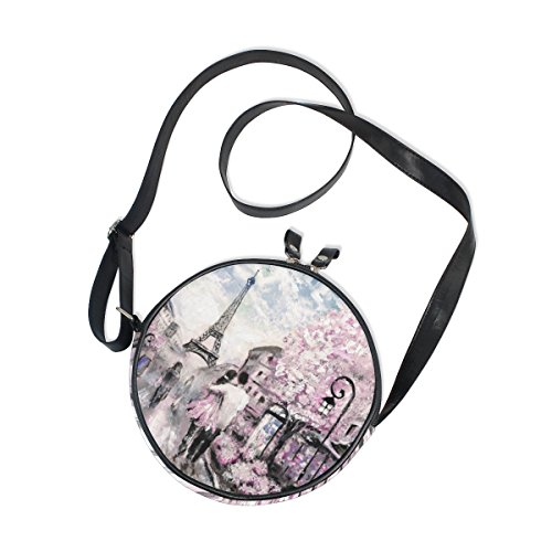 ALAZA Pink Cherry Paris Eiffel Tower Round Crossbody Bag Canvas Messenger Purse