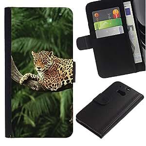 """HTC One M8 , la tarjeta de Crédito Slots PU Funda de cuero Monedero caso cubierta de piel ("""" Leopard Tree Jungle Rainforest Trees Big Cat"""")"""