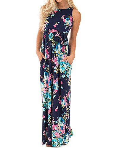 Lavi Beauty Celltronic Women#039s Casual Floral Print Pocket Maxi Long Dress