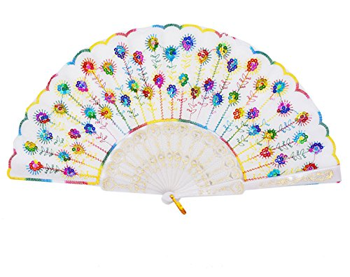 Amajiji Womans Folding Fans ,Handmade Embroidered Flower Peacock Pattern Sequin Fabric Folding Fans (Mixed Colors)
