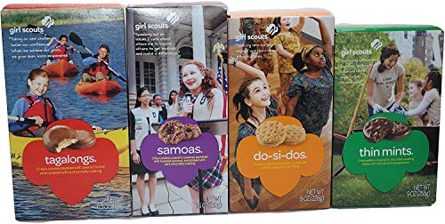 (Girl Scout Cookies Thin Mints, Caramel DeLites (Samoas), Peanut Butter Patties (Tagalongs) and Peanut Butter Sandwich (Do-si-dos) Variety Pack of 4 - Each Pack Comes with 4 Fun, Unique Recipes)