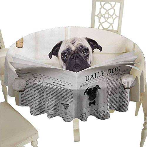 duommhome Pug Durable Tablecloth Puppy Reading The Newspaper on The Toilet Bathroom Funny Image Pug Joke Print Easy Care D67 Cream Black White]()