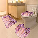 3 Piece Anti-slip mat setSpring s Painting Effect Wisteria Blossoms Non Slip Bathroom Rugs