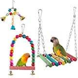 ETSAMOR 3pcs Bird Swing Toys Colorful Wooden Budgie Toys with Beads Bells for Parakeets Cockatiels, Macaws, Love Birds, Finches