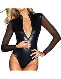 ADEWEL Women Sexy See Through Sheer Mesh Long Sleeve Zipper Front Bodycon Leather Bodysuit