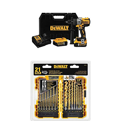 DEWALT DCD996P2 20V MAX XR Lithium Ion Brushless 3-Speed Hammer Drill Kit with DEWALT DW1361 Titanium Pilot Point Drill Bit Set, 21-Piece