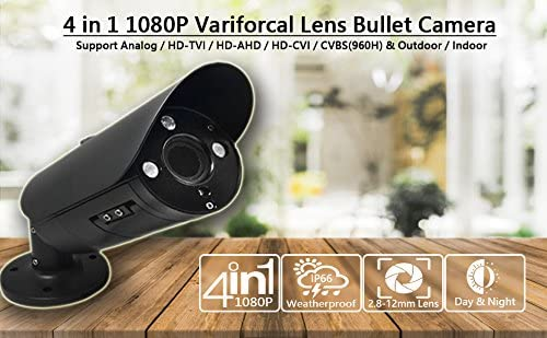 101AV 2.4Megapixel CMOS Image Sensor In Outdoor Security Bullet Camera 1080P True Full-HD 4 IN 1 TVI, AHD, CVI, CVBS 2.8-12mm Lens DWDR OSD Camera Black