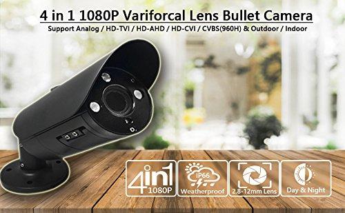 101AV 2.4Megapixel CMOS Image Sensor In/Outdoor Security Bullet Camera 1080P True Full-HD 4 IN 1(TVI, AHD, CVI, CVBS) 2.8-12mm Lens DWDR OSD Camera (Black)