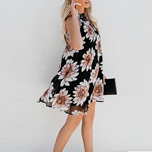Mini Lattice Sleeveless Black Round Women Blackless Printing Ladies Neck Dress KIMODO qSZ8pg
