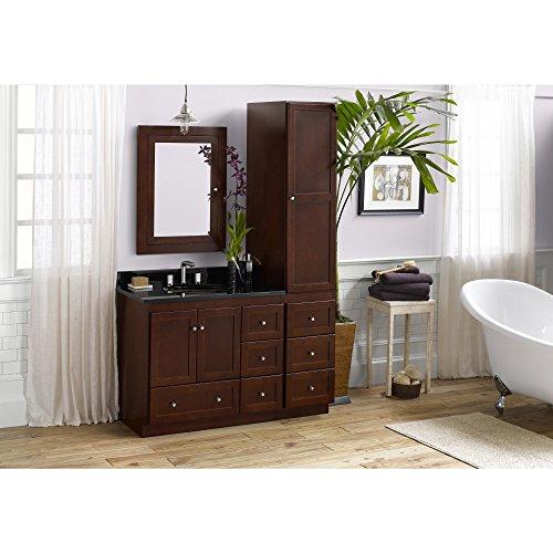 52 Inch Vanity (RONBOW Shaker 52 inch Bathroom Vanity Set in Dark Cherry, Bathroom Vanity with Top and Backsplash in Granite with Medicine Cabinet and Linen Cabinet, White Oval Ceramic Vessel Sink 081936-3L-H01_Kit_1)