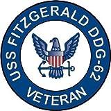 "US Navy USS Fitzgerald DDG-62 Ship Veteran Decal Sticker 3.8"" 6-Pack"