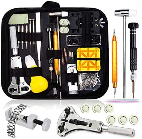 Watch Repair Kit,Watch Case Opener Spring Bar Tools,Watch Battery Replacement Tool Kit,Watch Band Link Pin Tool Set with Carrying Case