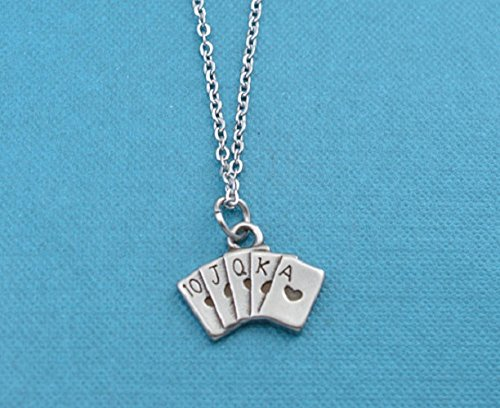 Womens Poker Charm Pendant in stainless steel on an 16 stainless steel cable chain with lobster claw clasp. Deck of cards. (Poker Hand Charm)
