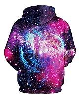 GLUDEAR Unisex Realistic 3D Digital Print Pullover Hoodie Hooded Sweatshirt,Nebula,L