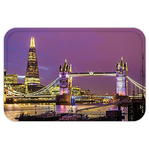 Costumes Collections In London (Kisscase Custom Door MatLondon Decor Collection Tower Bridge in London at Night Historical Cultur Monument Europe British Urban Photo Purple Yellow)