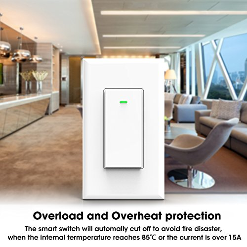 Wi-Fi Smart Wall light switch, OMOTON Wireless Timing Switch Outlet Compatible with Amazon Alexa and Google Assistant, No Hub Required, Wifi/4G/3G/2G Enabled, App Control from Anywhere