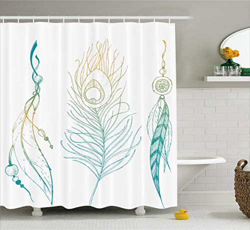 Feather House Decor Shower Curtain by Ambesonne, Aesthetic First Nations Feather and Peacock Tail Traditional Design, Fabric Bathroom Decor Set with Hooks, 70 Inches, Mint Yellow