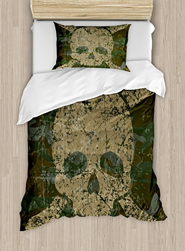 Camo Duvet Cover Set Twin Size by Ambesonne, Abstract Texture with Skull and Crossbones Pattern Aged Rusty Grunge Style, Decorative 2 Piece Bedding Set with 1 Pillow Sham, Dark Green Khaki Cream
