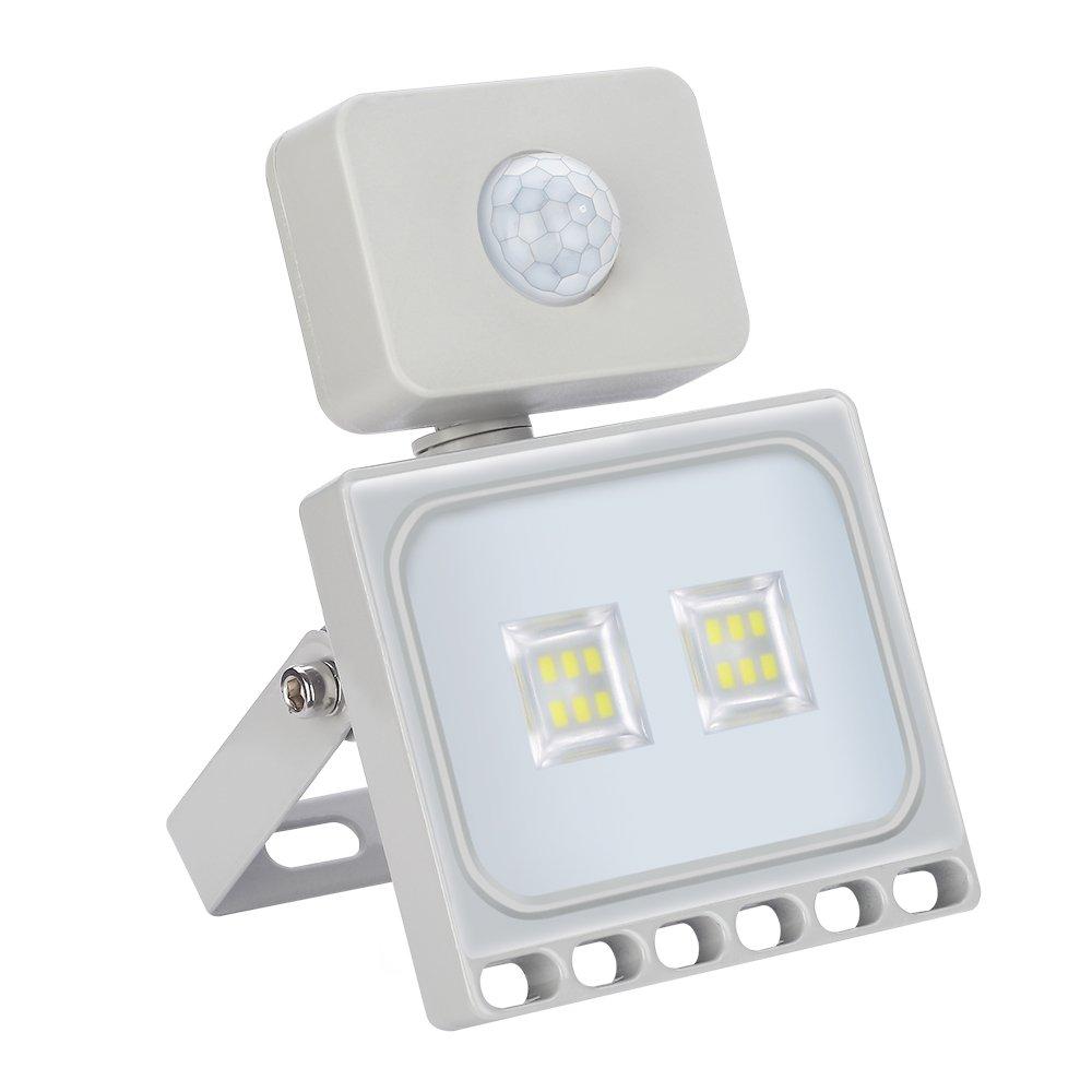 10W LED Fluter + Bewegungsmelder kaltweiß, HimanJie Ultra Dünn LED ...