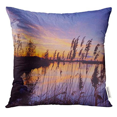 Throw Pillow Cover Blue Utah Sunset Fades Away Over The Great Salt Lake City Ut USA Orange Scenic Decorative Pillow Case Home Decor Square 18x18 Inches -