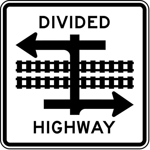 Traffic Signs - Divided Highway Transit Rail Crossing 12 x 18 Magnet Sign Street Weather Approved Sign ()