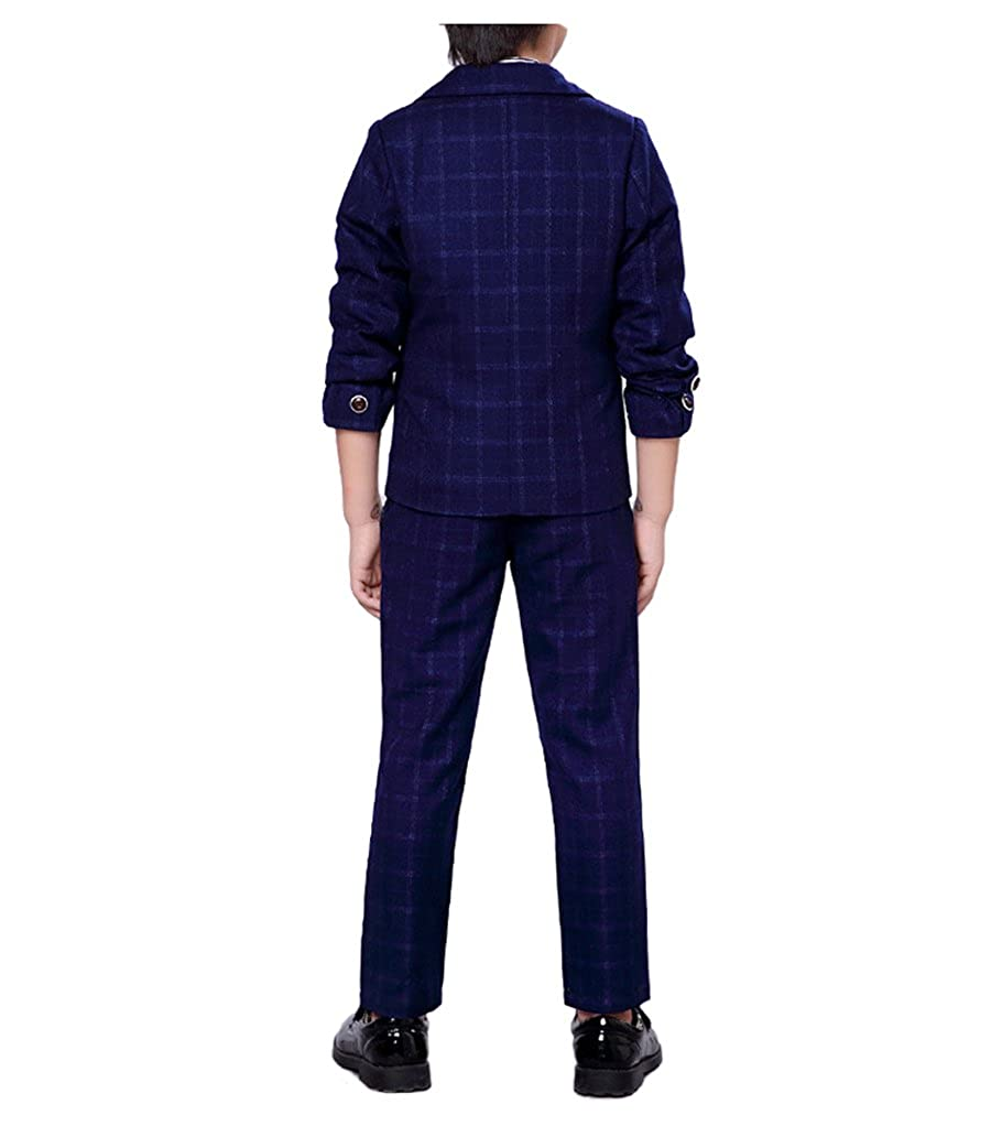 Boys Red Blue Gray 3 Colors Plaid Suit Set Jacket Vest Pants 3 Pieces Suits