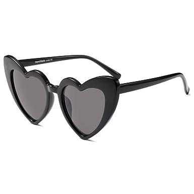 Hzjundasi Gafas de sol del corazón de las gafas de sol de las mujeres Gafas de sol del estilo retro de Cat Eye Mod