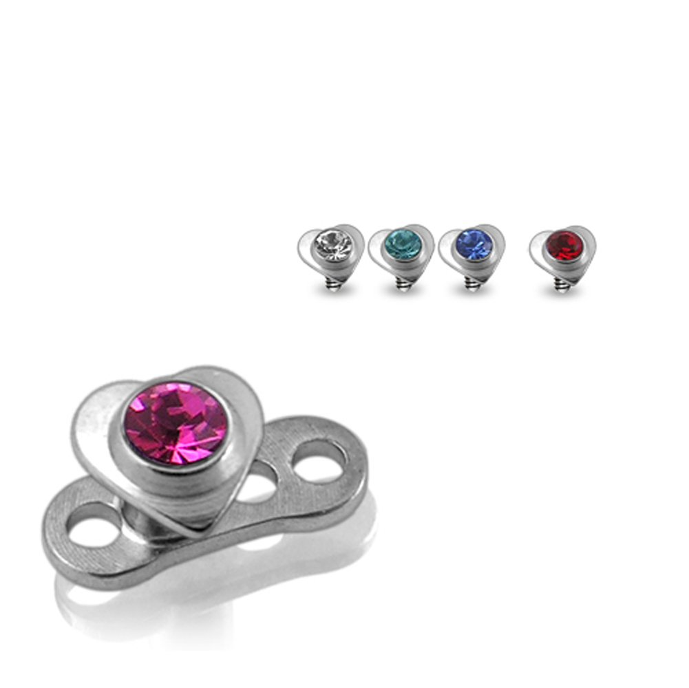 Buy 1 Get 5 !!! G23 Grade Titanium Base with 5 Pieces Changeable 316L Surgical Steel Top Dermal Jeweled Heart All Color As Shown. by Dermal Anchors