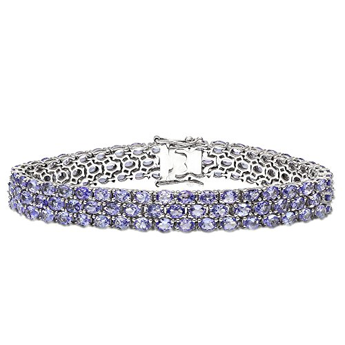 Fine Tanzanite Tennis Bracelet in Sterling Silver