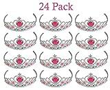 Tiaras with Pink Heart Stones - 24 Adjustable Piece - for Kids, Girls, Women, Costume, Dress up, Props, Themed Parties, Weddings, Halloween, Valentine's - Kidsco