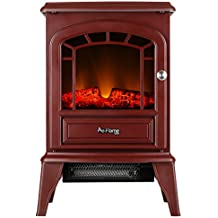 e-Flame USA Aspen Portable Electric Fireplace Stove by (Rustic Red) - 23-inches Tall Freestanding Fireplace Featuring Heater and Fan Settings with Realistic and Brightly Burning Fire and Logs