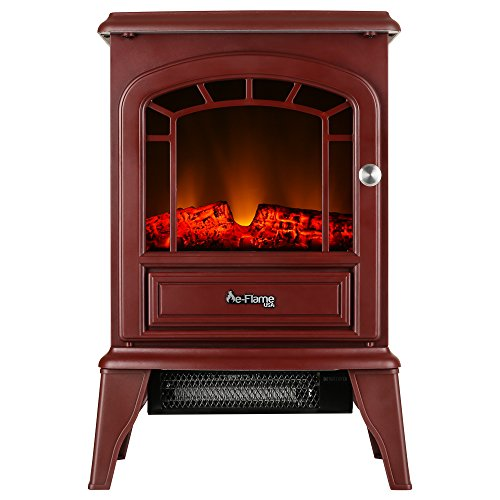 e-Flame USA Aspen Portable Electric Fireplace Stove (Rustic Red) - 22-inches Tall Freestanding Fireplace Featuring Heater and Fan Settings with Realistic and Brightly Burning Fire and Logs