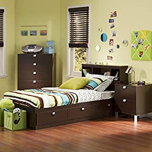 picture of South Shore Cakao Kids 3-Piece Bedroom Set with Bookcase Headboard, Twin, Chocolate