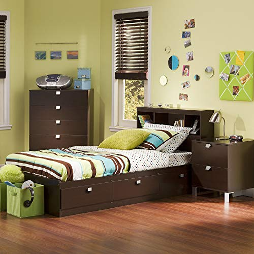 South Shore Cakao Kids 3-Piece Bedroom Set with Bookcase Headboard, Twin, Chocolate,south shore
