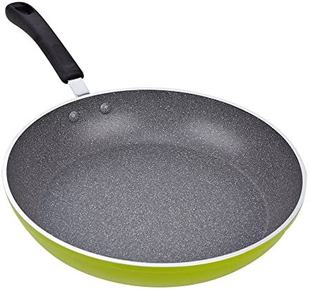 Cook N Home 02404 12-Inch Frying Pan with Non-Stick Coating Induction Compatible Bottom, Large, Green