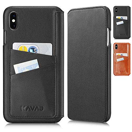KAVAJ iPhone Xs Max 6.5 Case Leather Dallas Black, Supports Wireless Charging (Qi), Slim-Fit Genuine Leather iPhone Xs Max Wallet Case Leather Bumper Case with Business Card Holder Cover