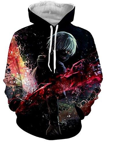 DreamAndReality Unisex Hoodies Tokyo Ghouls Ken Kaneki 3D Print Pullover Sportswear Sweatshirt Tops 99