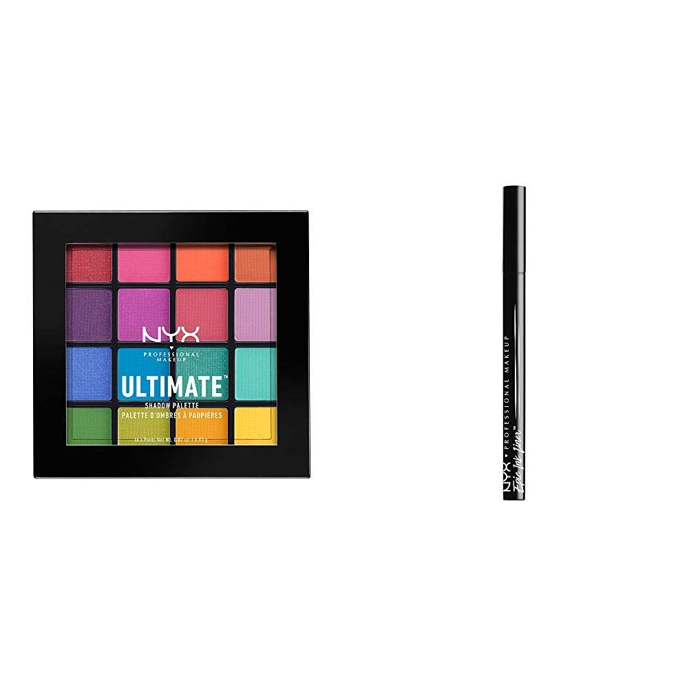 NYX PROFESSIONAL MAKEUP Ultimate Eyeshadow Palette (Brights) + Epic Ink Eyeliner (Negro)