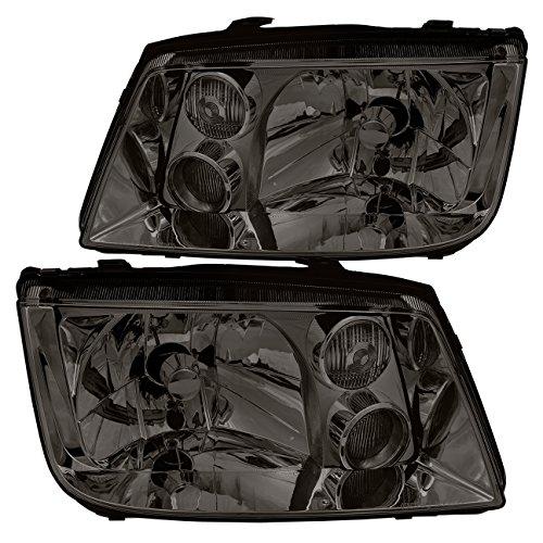 AJP Distributors For Vw Volkswagen Jetta Bora MK4 MKIV Euro VAG Headlights Head Lamps Lights Fog City Lights 1999 2000 2001 2002 2003 2004 2005 99 00 01 02 03 04 05 (Chrome Housing Smoke Lens) ()